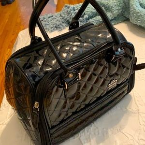 Caboodle's black patent look satchel makeup bag travel.